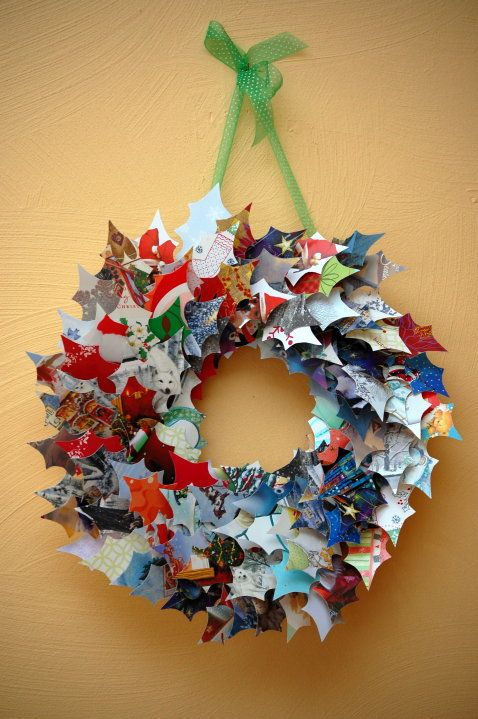 DIY CHRISTMAS WREATH MADE FROM RECYCLED CHRISTMAS CARDS CRAFT Visit My Site  Here: Http://www.diaryofadeaconswife.com/