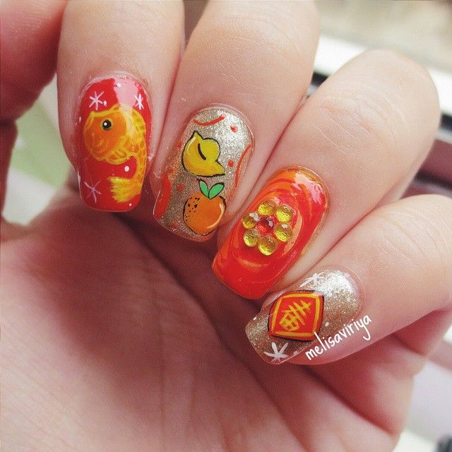 Simple Nail Art For Chinese New Year: Red Year Of The Sheep/Goat 2015 Chinese New Year Nails By
