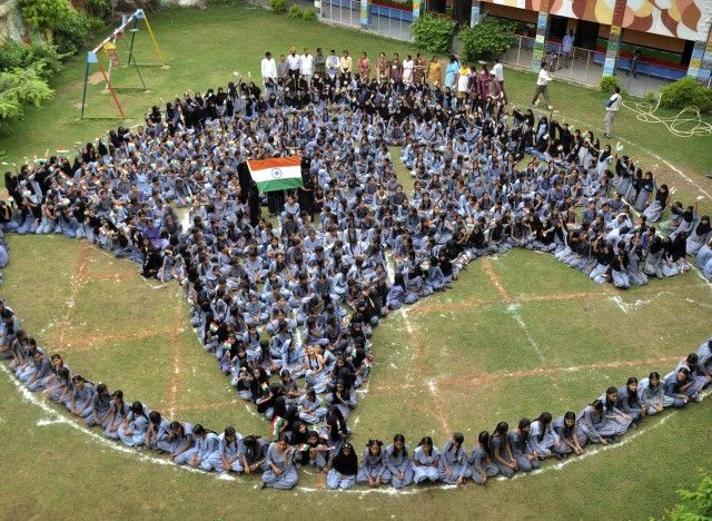 Muslim school children from Jodhpur, India form the map of India as they pray for world peace on Aug. 9, 2012.    Credit: AP Photo by Ramji Vyas