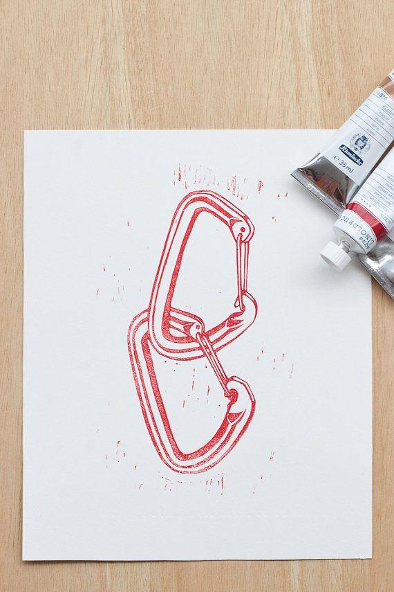 Bergsteigen und Klettern Kunst-Druck von FingertipPrints auf Etsy