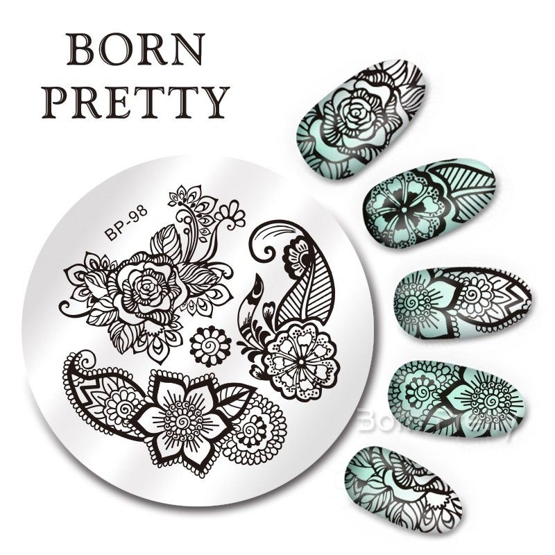 $159 BORN PRETTY 55cm Round Nail Art Stamp Template Arabesque - stamp template