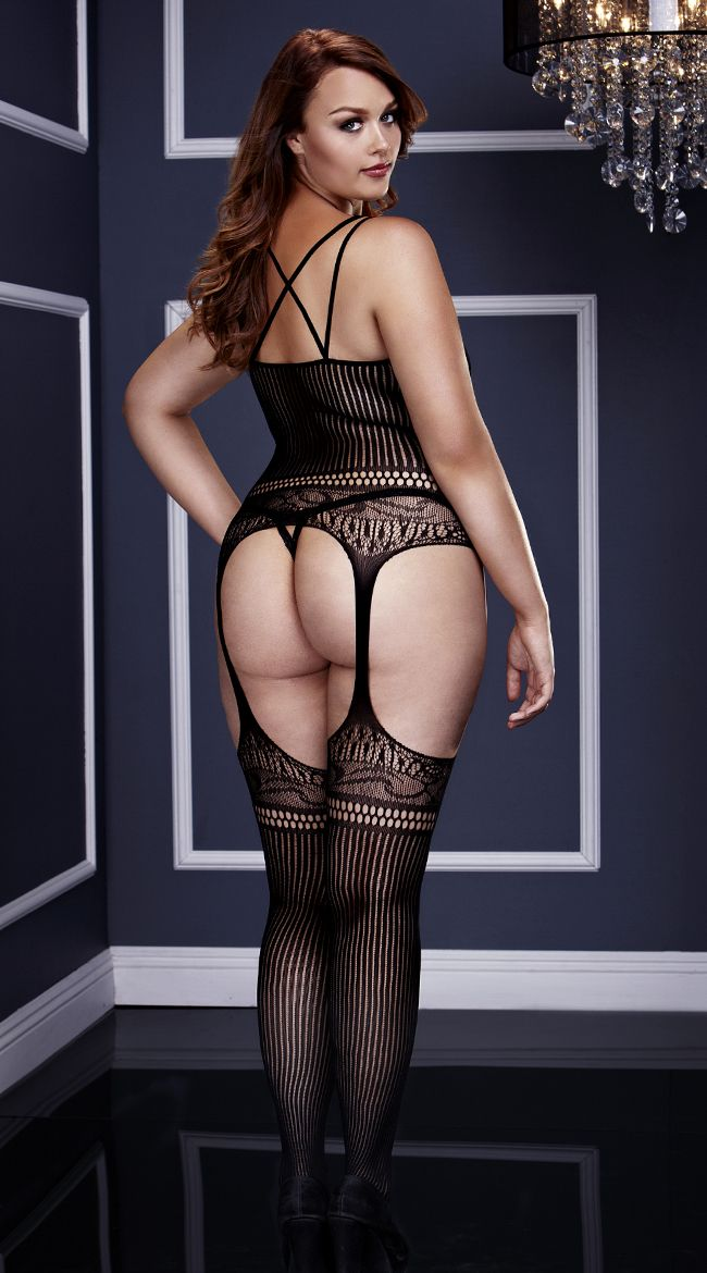c058b7b657f Plus Size Striped Lace Suspender Bodystocking
