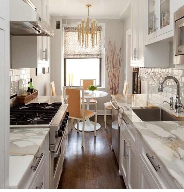 My Galley Kitchen Reno: Small Gallery Kitchen Super Chic, White With Brass And