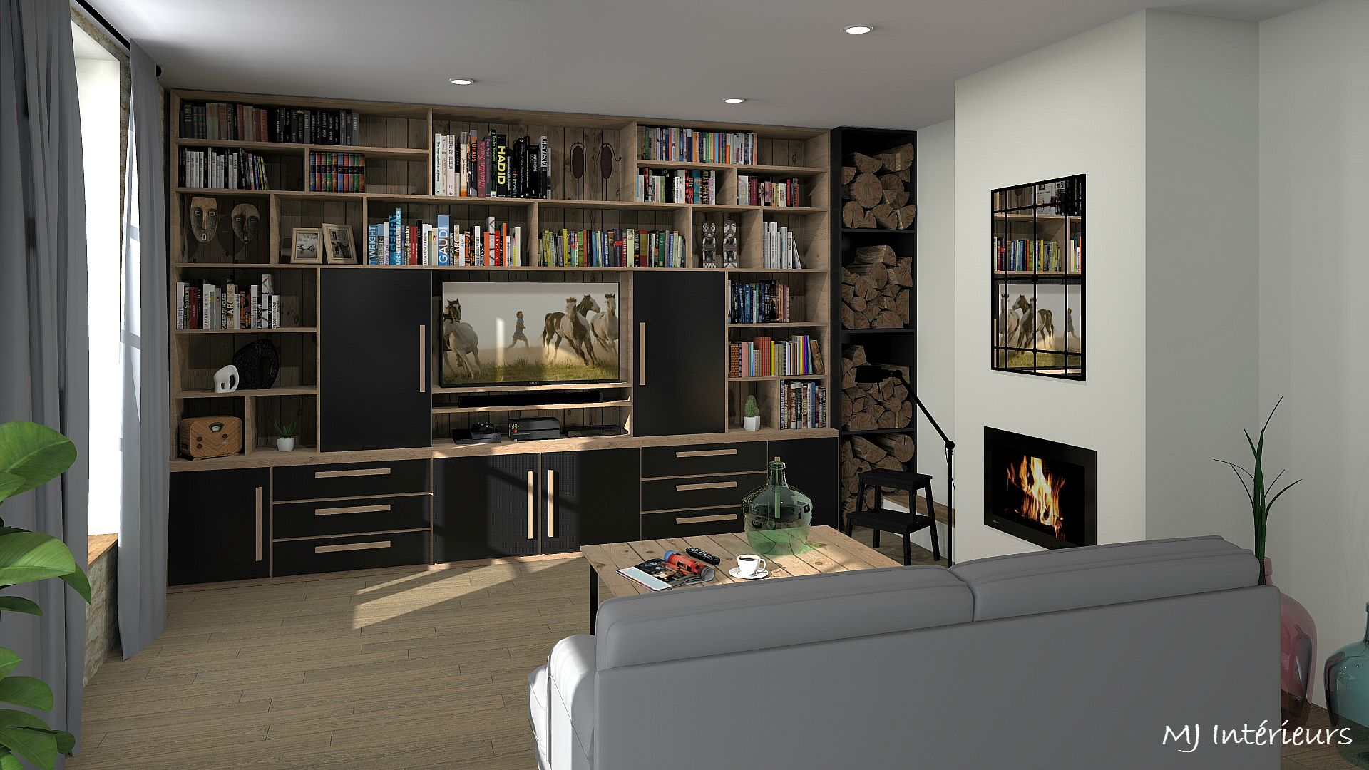 biblioth que meuble tv avec b cher conception sur mesure en ch ne et valchromat medium teint. Black Bedroom Furniture Sets. Home Design Ideas