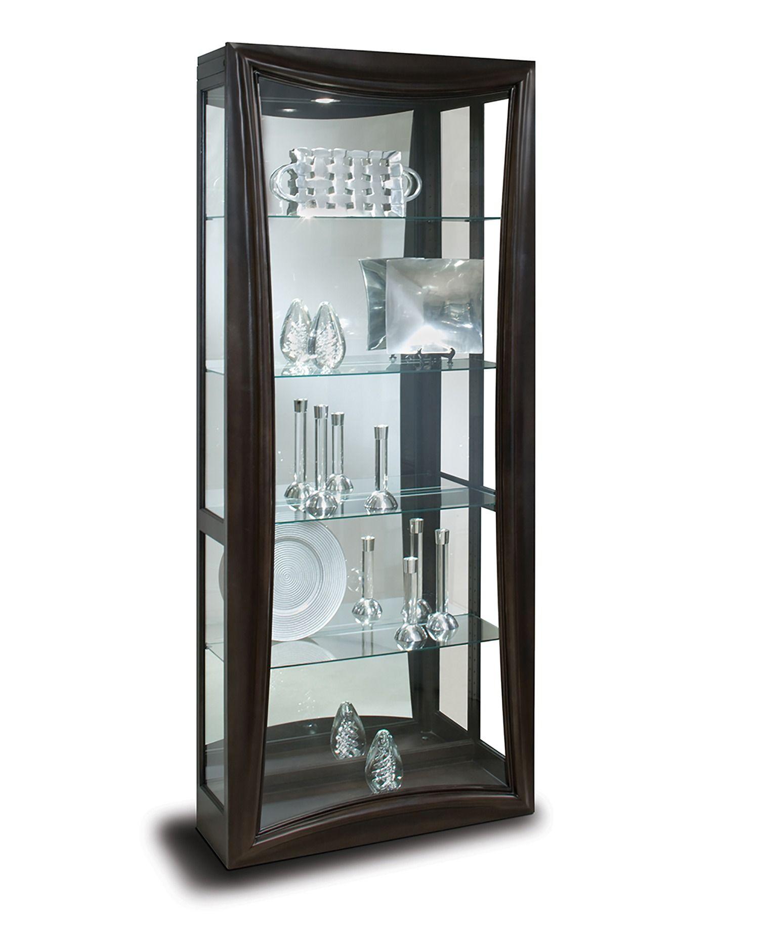 Gemini Ii 2 Way Sliding Door Curio Cabinet In Dark Espresso Philip Reinisch Furniture Home Gallery Stores Curio Cabinet Small Curio Cabinet Cabinet