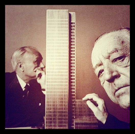 Mies van der Rohe & Philip Johnson in front of a model of the Seagram Building in 1955. Image Courtesy of Society of Architecture Photography (SAP)  SAP Releases Rare Images of Architecture 'Selfies'