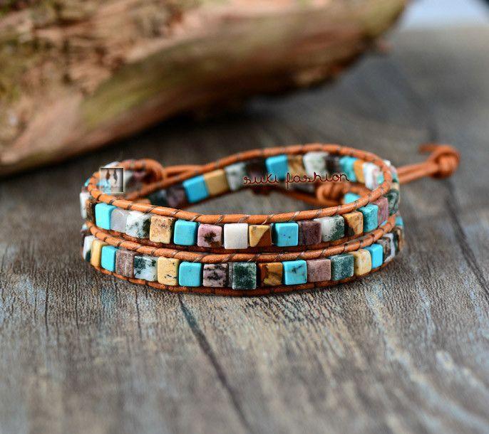Natural Stones Leather Wrap Bracelet