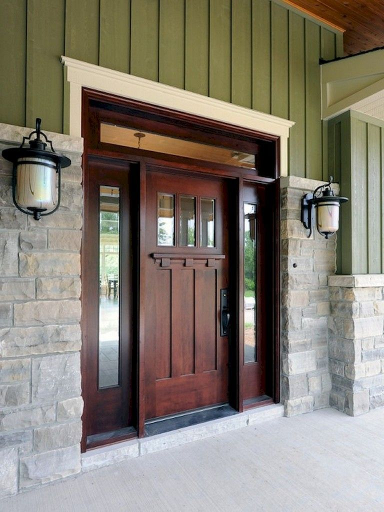 Craftsman Exterior Design Ideas Remodels Photos: 40+ Awesome Front Door With Sidelights Design Ideas