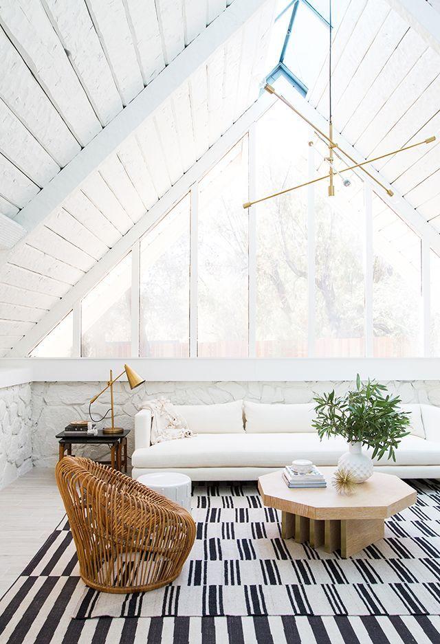 Sarah Sherman Samuel:A-frame Living Room Before & After   Sarah Sherman Samuel