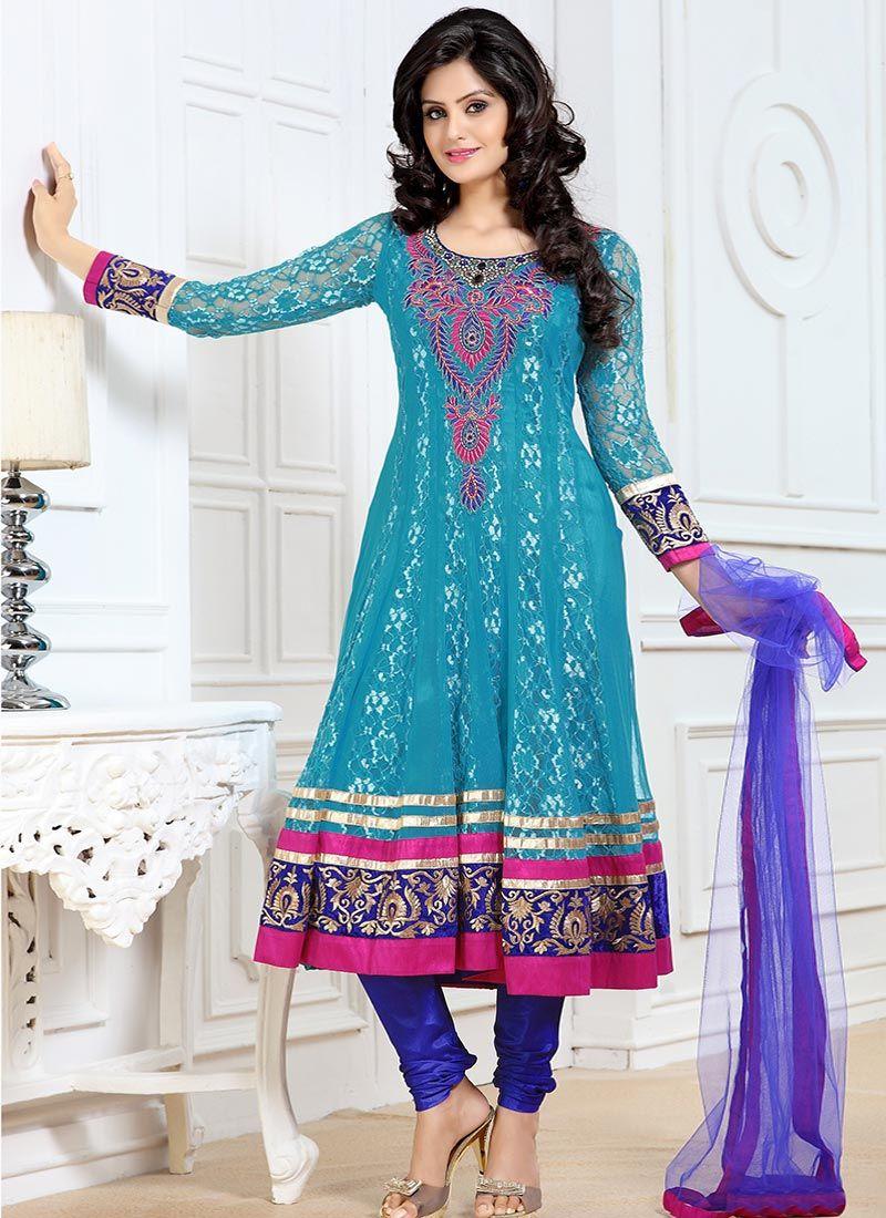Turquoise Net Churidar Suit | Desi Outfits | Pinterest | Churidar ...