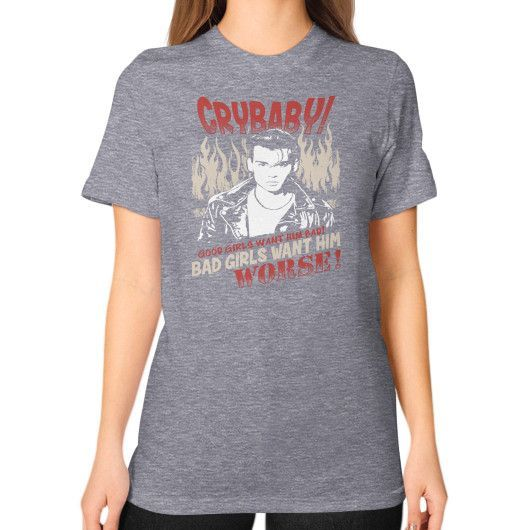 CRYBABY WORSE Unisex T-Shirt (on woman)