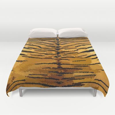 Tiger fur skins digital painting Duvet Cover $99.00  #Leopard #albinoleopard #tiger #lion #hyenas #hyaenas #cat #animals #jaguar #LionRoar #Tigerskins #Badroom #Duvet #Duvetcover