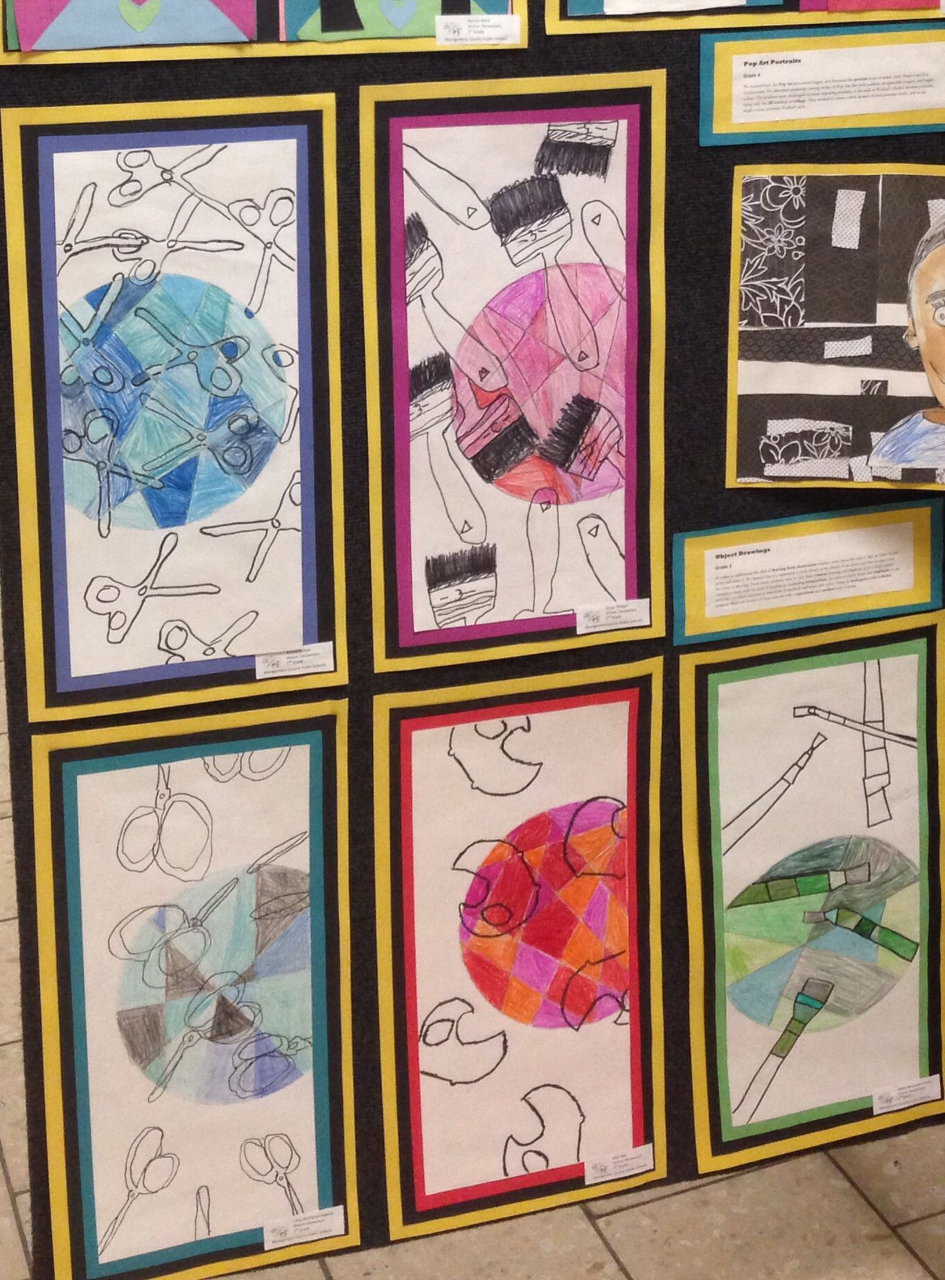 2nd Grade Art Lesson Covering Drawing From Observation Contour Drawing Repetition Compostion