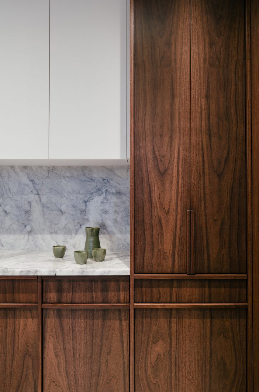 Particle Board Cabinets In The Kitchen Are Covered With A Dark Walnut Veneer With Solid Walnut Handles Contrasting T In 2020 Toronto Apartment Renovations Green Paint