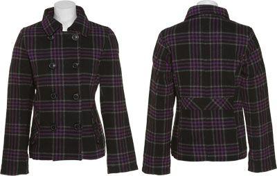 WESTWIND Wool-Blend Plaid Double Breasted Jacket (Black/Purple)
