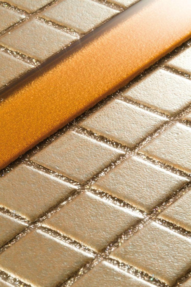 Fliesen Glitzer Fugen Mosaik Gold Idee Glas