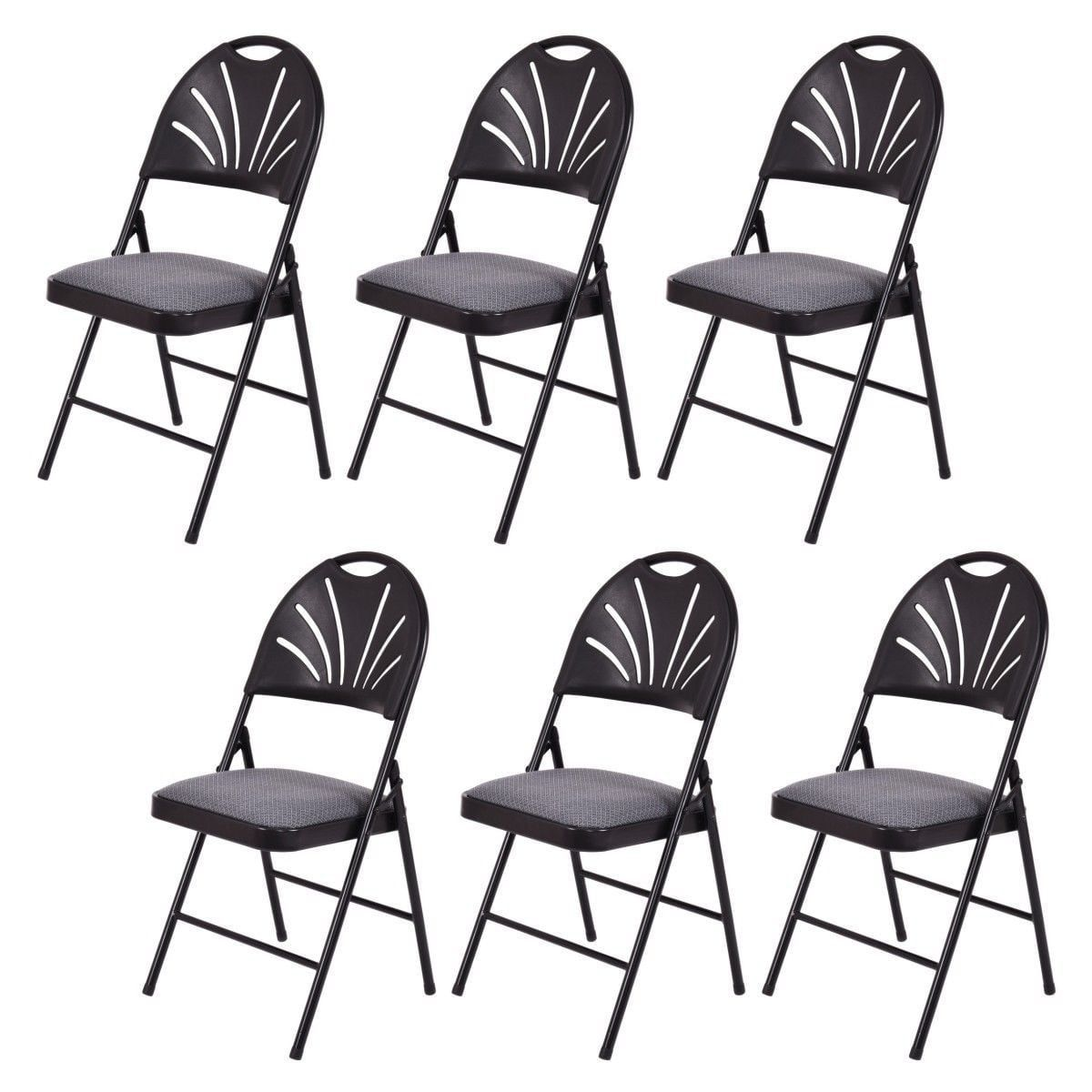 Costway Set of 6 Folding Chairs Fabric Padded Seat Plastic