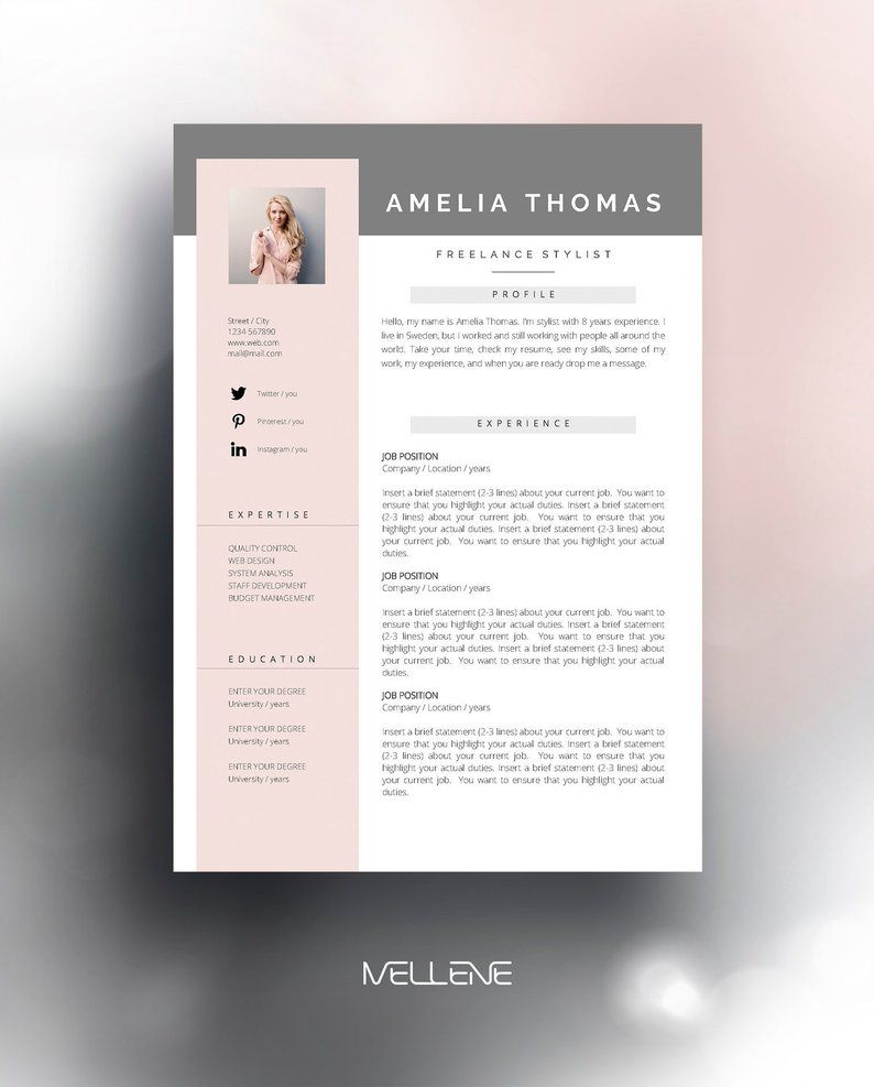 Resume Template 3 Page Cv Template Cover Letter Instant Download For Ms Word Amelia Resume Template Cv Template Resume Design