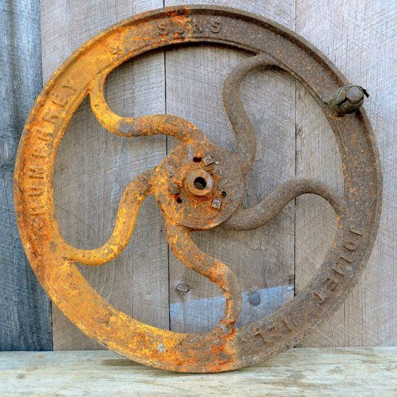 Cast Iron Wheel Bone Grinder Cutter Humphrey & Sons Industrial Rustic Farm Salvage 1900's on Etsy, $79.00