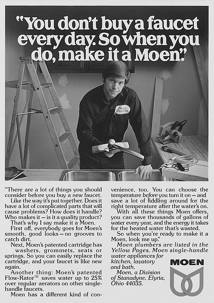Cashing in on plumber cred in this vintage ad. #moen75 #advertising ...