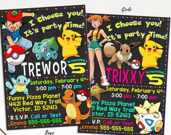 Pokemon Birthday Invitation Etsy CA
