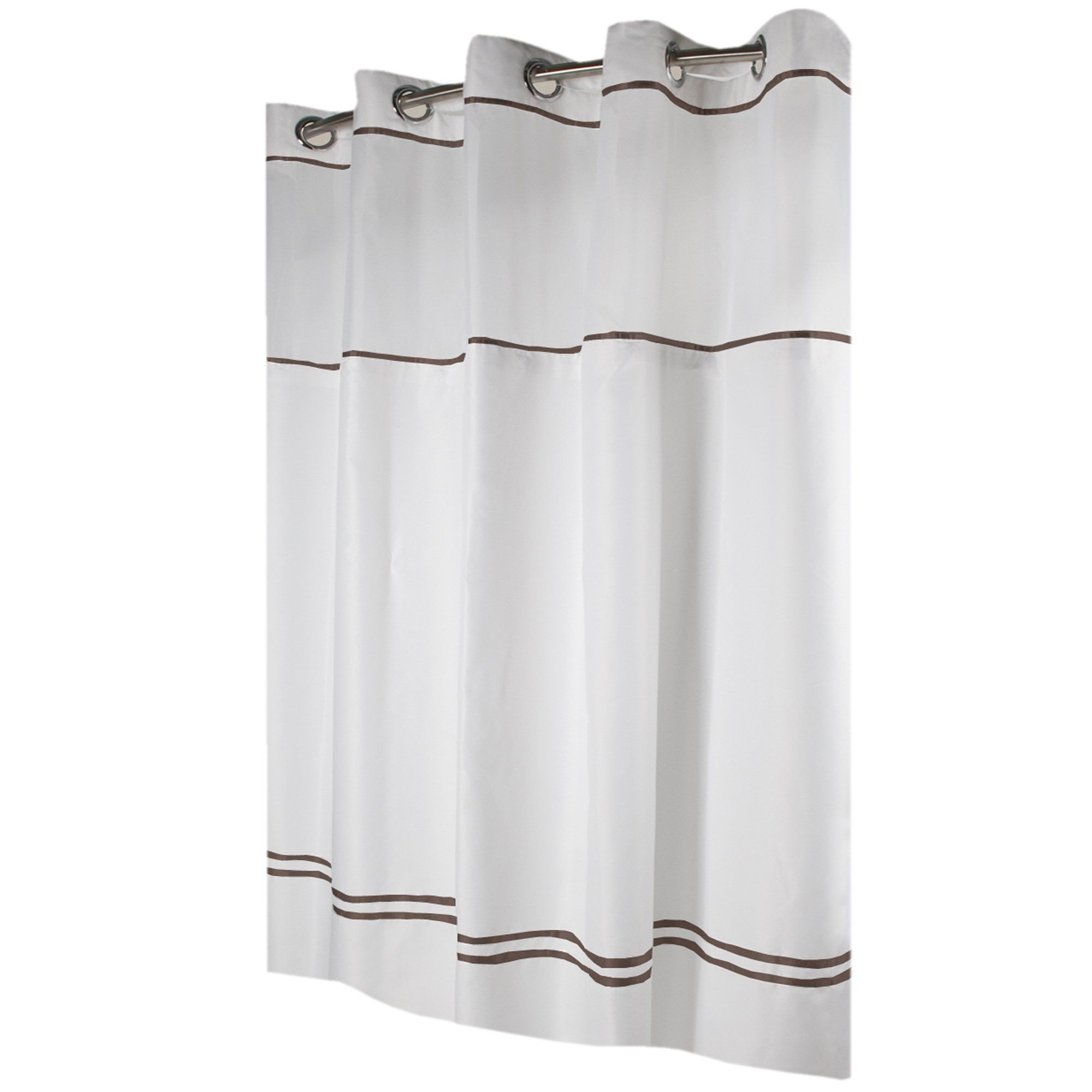 Hookless Shower Curtain Monterey White Brown Brown Black Curtains Curtains Hookless Shower Curtain