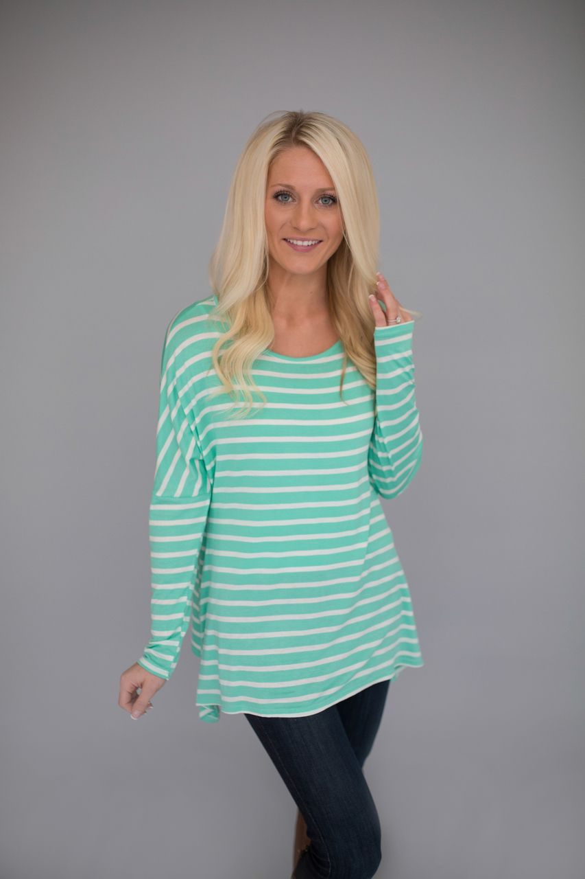 Magnolia Boutique Indianapolis - Long Sleeve Striped Tunic- Mint, $29.00 (http://www.indiefashionboutique.com/long-sleeve-striped-tunic-mint/)