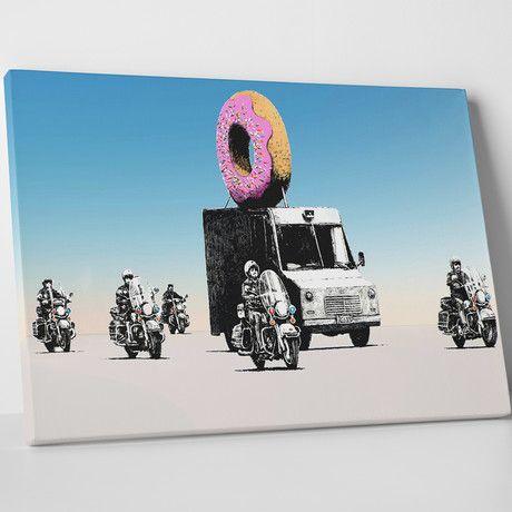 "Banksy - Donut Escort (20""W x 16""H x 0.75""D)"
