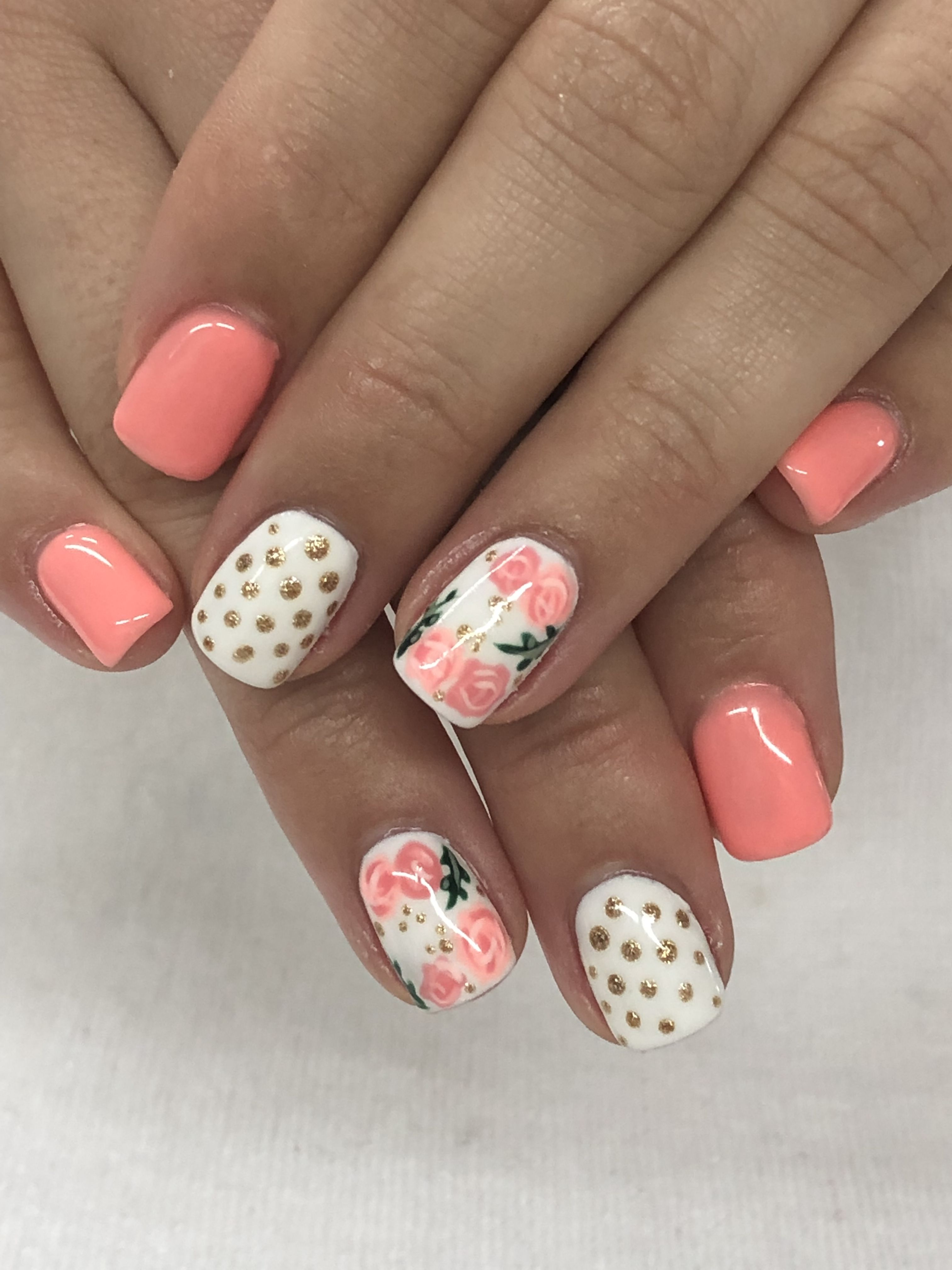 Spring Summer melon Coral, Roses & Gold Gel Nails ...