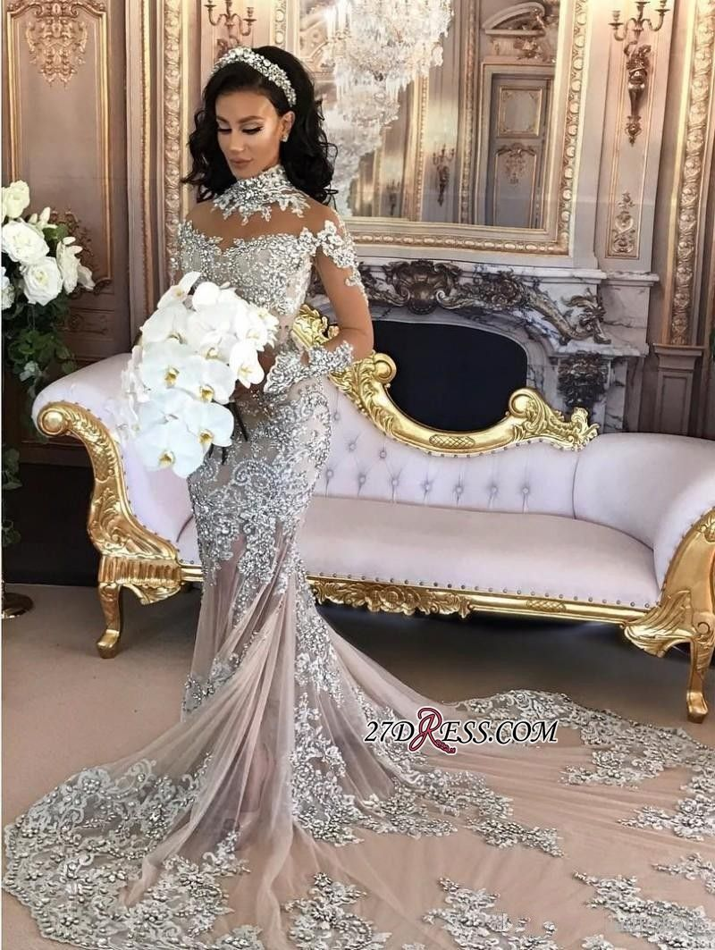 Silver Luxury Lace Long-Sleeve Mermaid High-Neck Wedding Dresses BA6703 a7006874dcb7