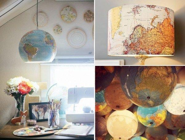 Decoração para quem ama viajar: abajur luminária de mapa