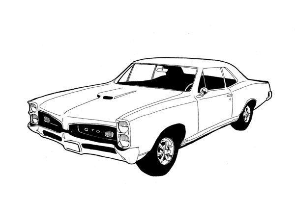 Russ Merritt Classic Cars Car Line Art Car Prints