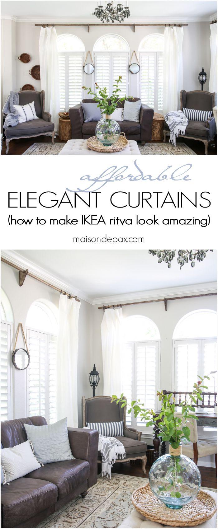 Bay window decor ideas  classy yet affordable white curtains  diy curtain rods diy