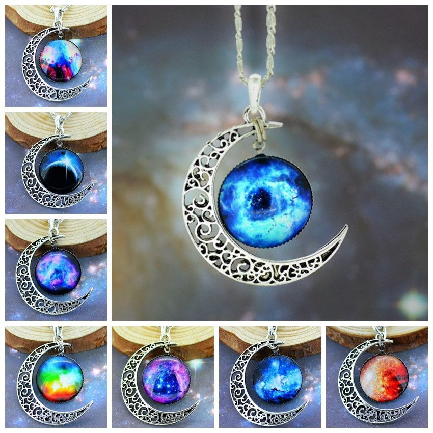 New Fashion Galaxy Necklace Lovely Galaxy Cabochon Alloy Hollow Moon Pendant  Silver Chain Necklace Best Gift 2752d5c4109c