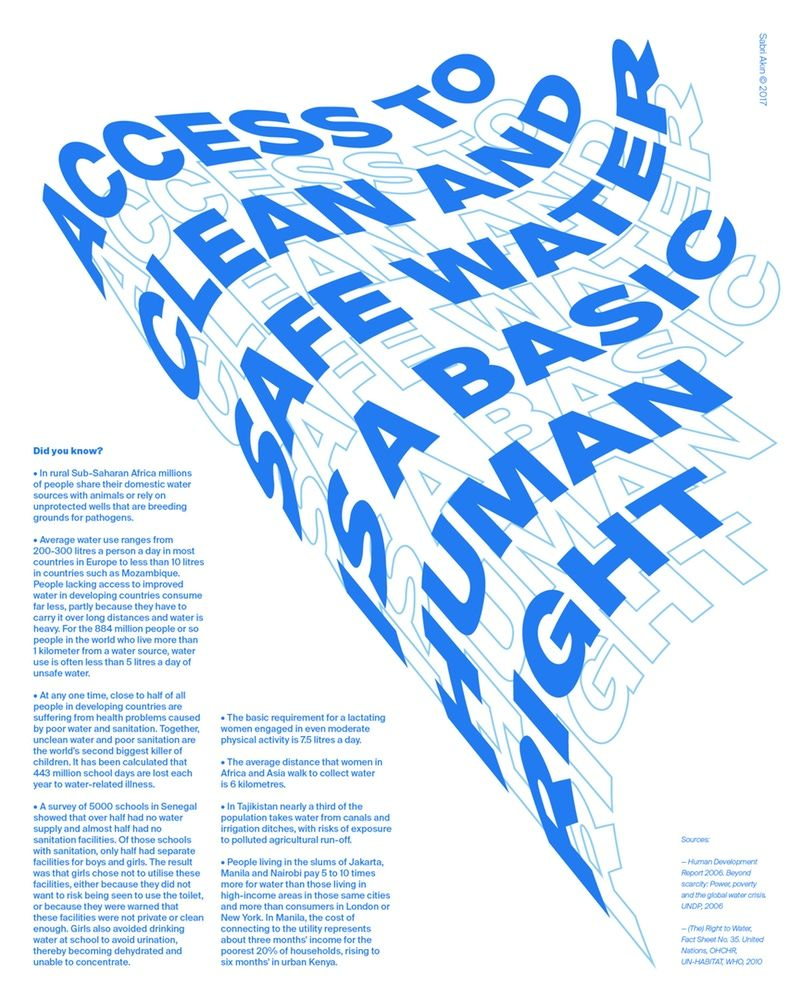 Water Is A Human Right By Sabri Akin Graphic Design Typography