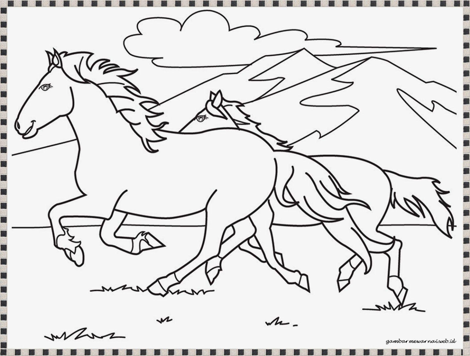 Gambar Mewarnai Kuda Liar Berlari Halaman Mewarnai Adult