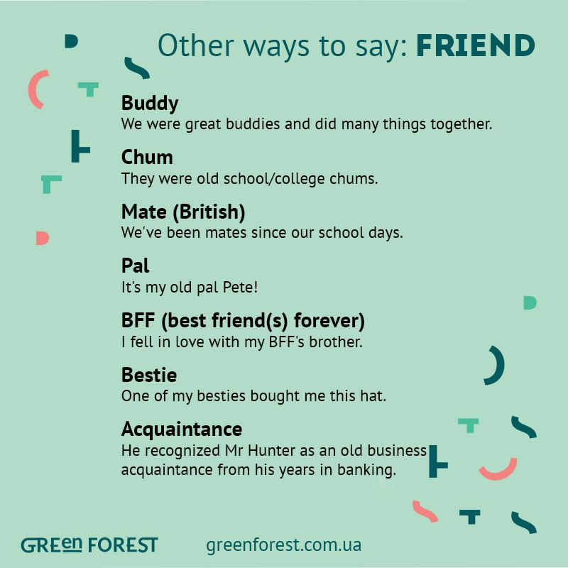Synonyms To The Word Friend Other Ways To Say Friend Other Ways To
