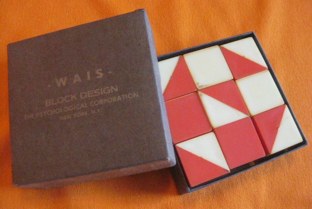 VINTAGE WAIS WECHSLER BLOCK DESIGN ADULT IQ INTELLIGENCE