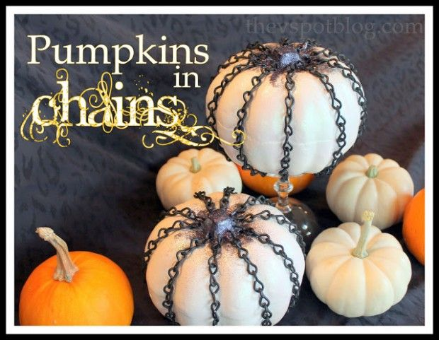 Pumpkins in Chains - 15 Awesome DIY Halloween Decorations - easy halloween pumpkin ideas