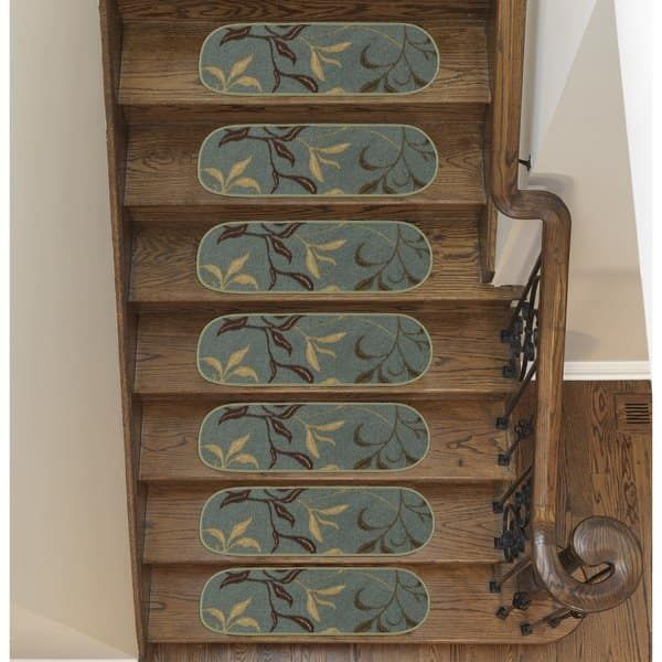 Best Ottomanson Ottohome Collection Leaves Design Stair Treads 640 x 480