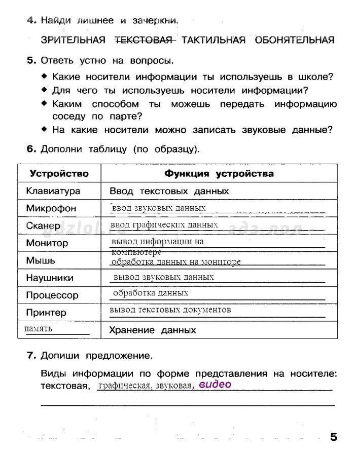 Информатика 5 класс макарова рабочая тетрадь отве