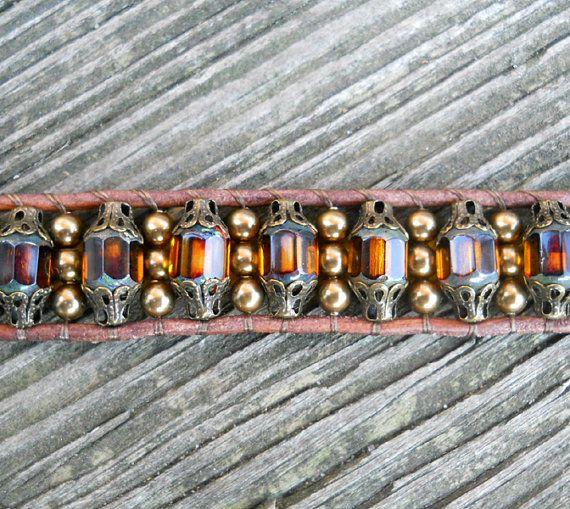 Root Beer Revival / Beaded Leather Wrap Bracelet / by DeLucaArt, $40.00