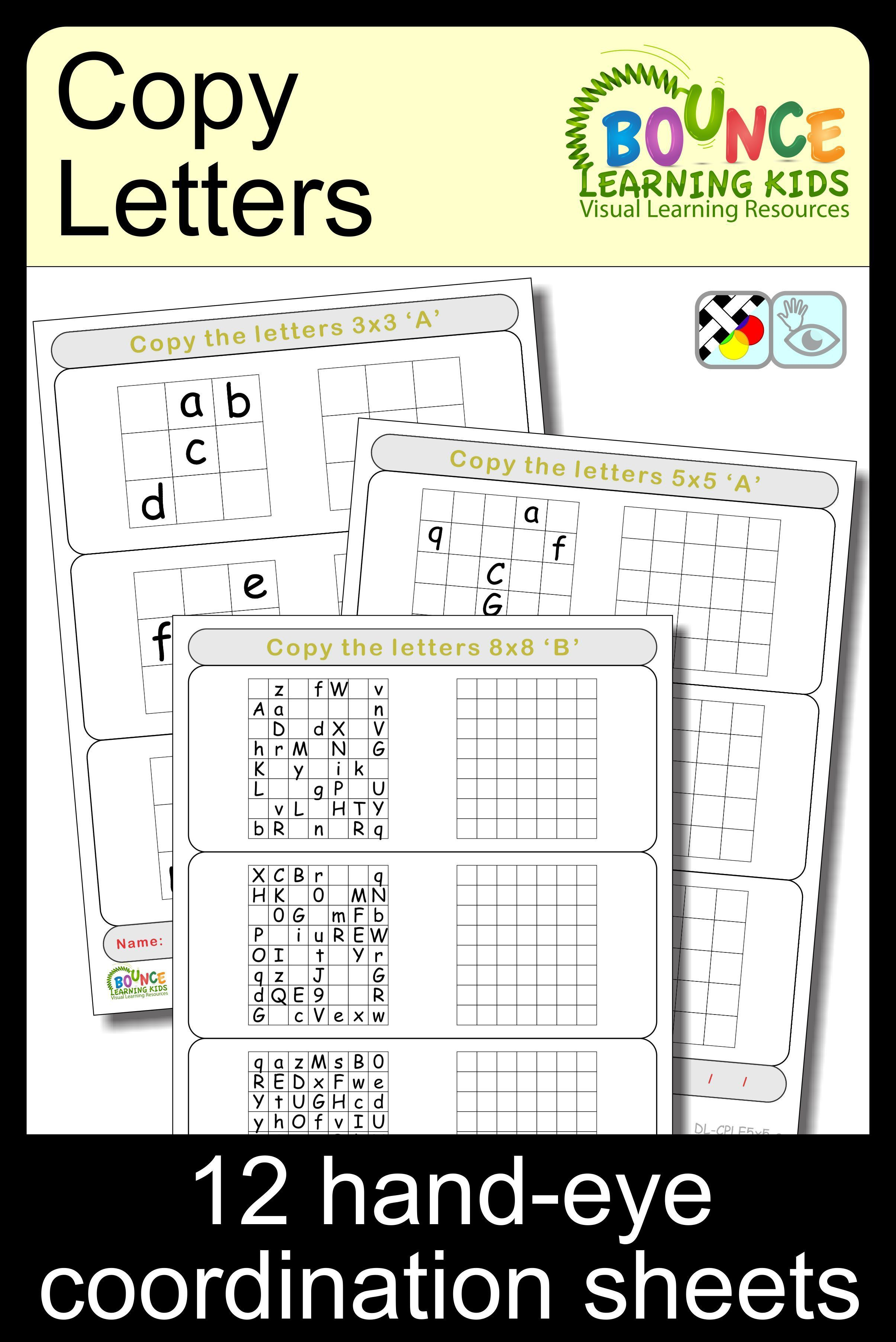 Copy Letters 12 Hand Eye Coordination Sheets Met