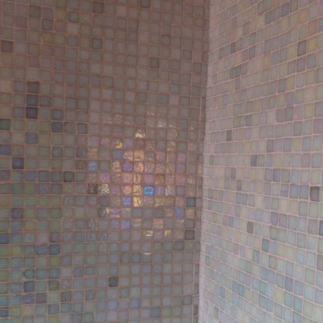 Recycled Opalescent Gl Tiles In The Bathroom