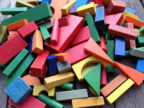 Toy Building Blocks 107 pieces of vintage Painted by dollyjayne