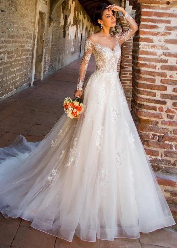 Wedding Dress Lace, Junoesque Tulle Jewel Neckline A-line Wedding Dresses With Lace Appliques & Beadings MAG20201507 Cute Bridal