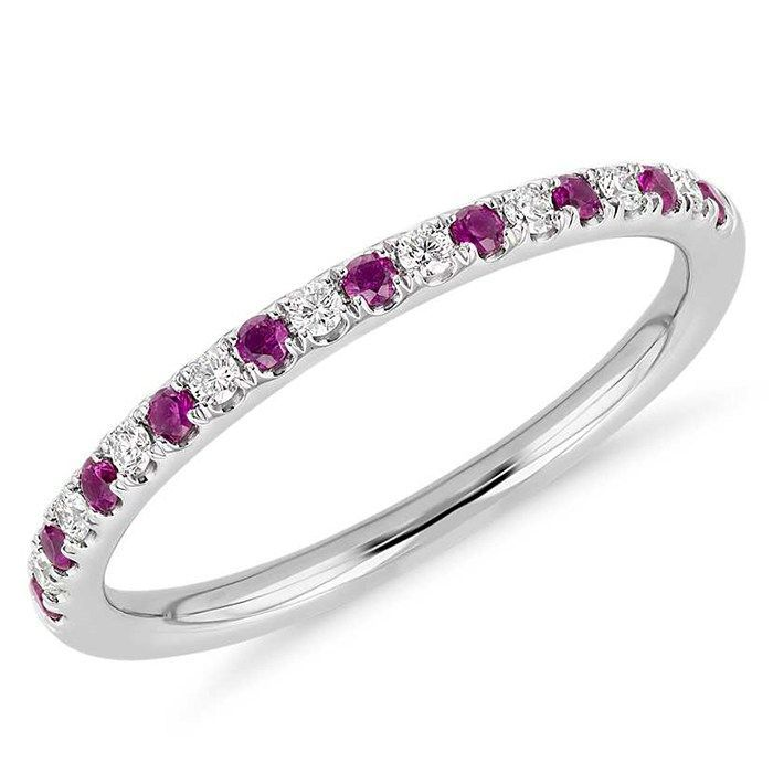 Popular Platinum Wedding Jewelry Trends: #10. Platinum Ruby and Diamond Ring; #engagementring #JewelryTrends