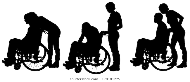 Vector Silhouettes Of People In A Wheelchair On A White Background Silhouette People Vector Silhouette