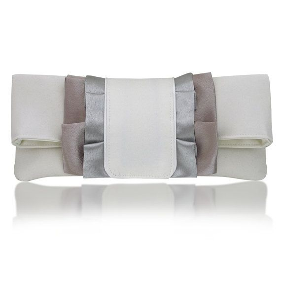 ivory and silver Olivia satin clutch by EmmaGordonLondon on Etsy, $74.00