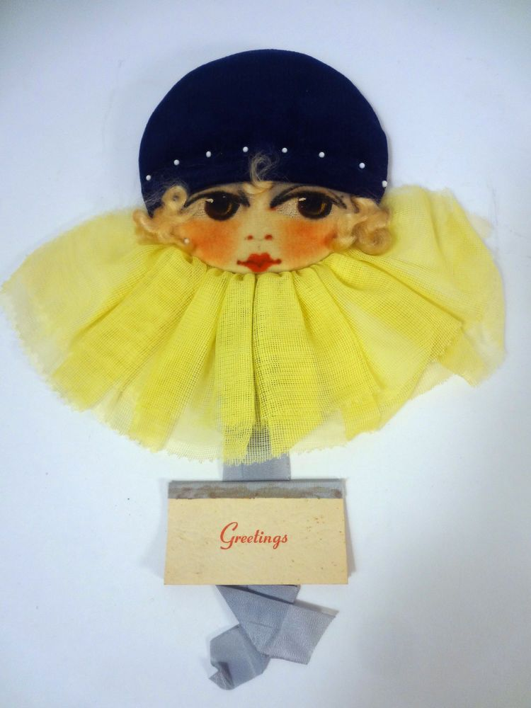 GORGEOUS Old Vtg HANGING Sewing PIN CUSHION Velvet DOLL Face GERMANY w/Calendar